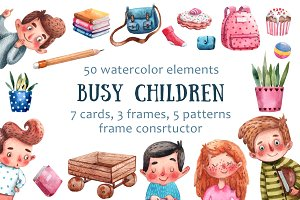 Busy Children - Watercolor Clip Art