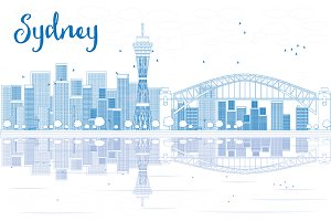 Outline Sydney City skyline