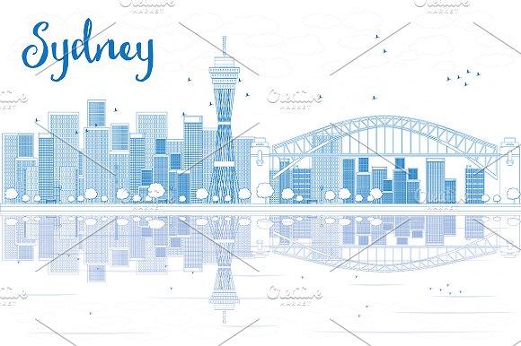 Outline Sydney City Skyline