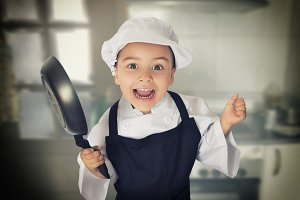 Happy chef girl