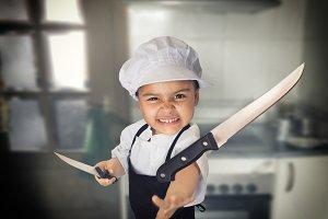 Angry chef girl