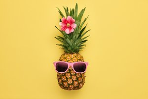 Fashion Hipster Pineapple. Tropical Summer Fruit