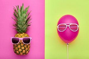 Fashion Pineapple. Air Balloon. Summer.Minimal Fun
