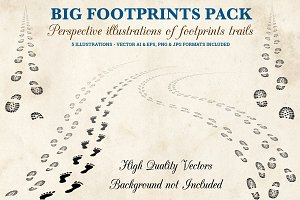 Footprints Trails Illustrations Pack