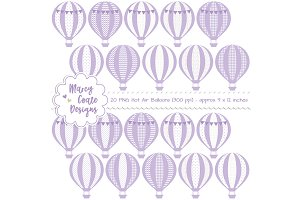 Lavender Hot Air Balloons Clipart