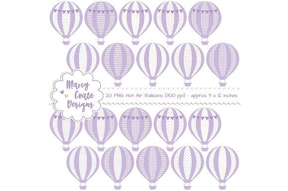 Lavender Hot Air Balloons Clipart