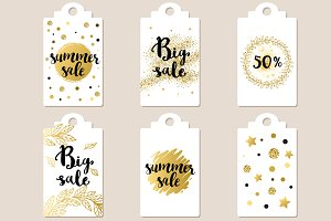 Golden summer sale tags