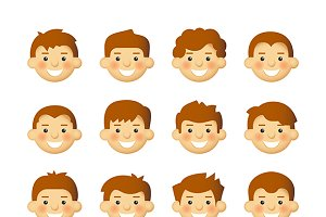 Men avatar with hairstyle set