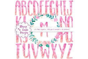 Pink Watercolor Wreath & Alphabet