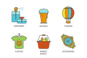Lineart colored shopping icon set