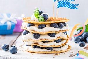 Small cake made of pancakes