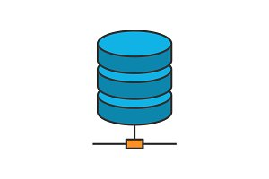 Data storage flat line icon