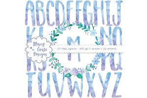 Blue Watercolor Wreath & Alphabet