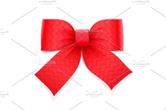 Red Bow Decorative Element For Gift