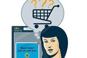 Female Internet Shopper Shopping Car