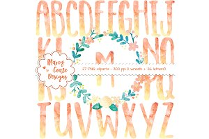 Orange Watercolor Wreath & Alphabet