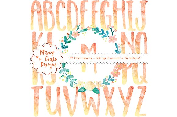 Orange Watercolor Wreath Alphabet