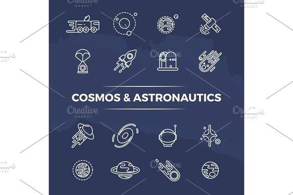 Cosmos And Astronautics Line Icons Planets Space Rockets Line Concept
