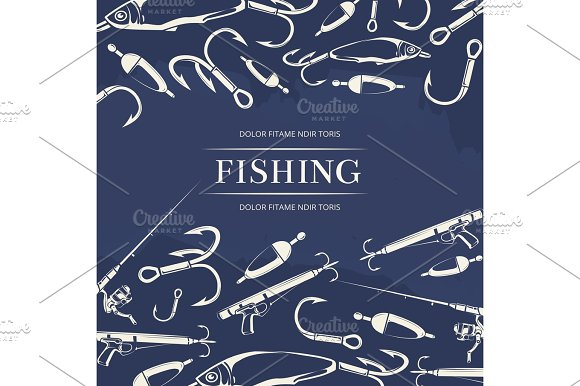 Fishing Poster With Hook Fishing Rod