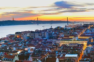 Cityscape of Lisbon at twilight