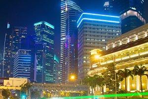 Singapore traffic , motion blur