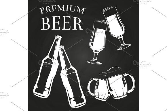 Beer Glasses Bottles And Mugs On Chalkboard