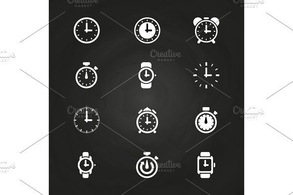Clock And Time Icons Set On Blackboard