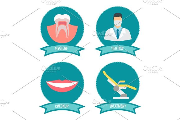 Dental Icons With Doctor Smile Teeth And Medicinal Chair