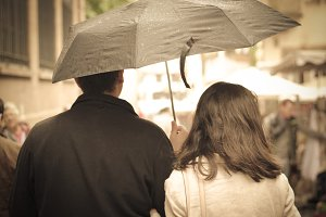 French couple with umbrella