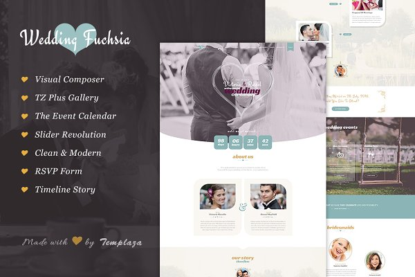 WordPress Wedding Themes: TemPlaza - Wedding Fuchsia - WordPress Theme