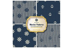 4 different Marine seamless patterns