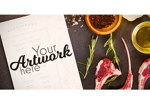 Food With Menu Mockup