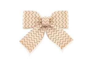 Beige bow. Decorative element for gift.