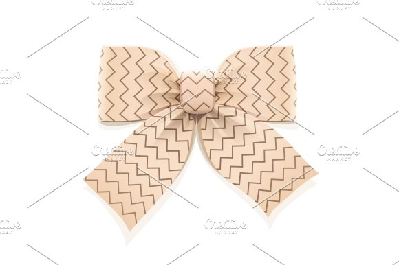 Beige Bow Decorative Element For Gift