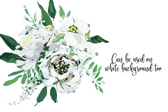 White hand painted floral clip art illustrations creative market mightylinksfo