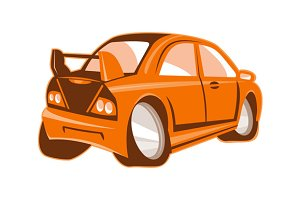 Cartoon style sports car isolated