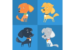 Vector Set of funny Mixed breed or mongrel dog