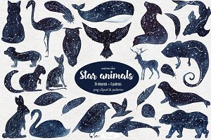 Star animals clipart & patterns