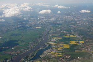 Aerial view of river Elbe near Hamburg
