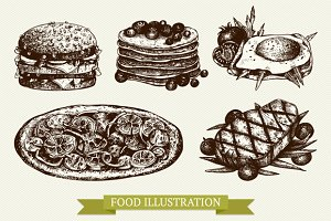 Hand drawn food sketch set