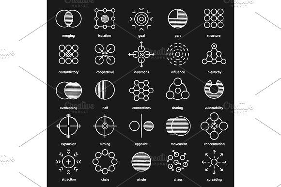 Abstract Symbols Chalk Icons Set