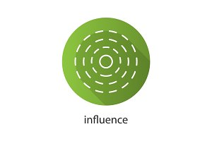 Influence flat linear long shadow icon