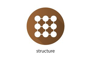 Structure flat design long shadow icon