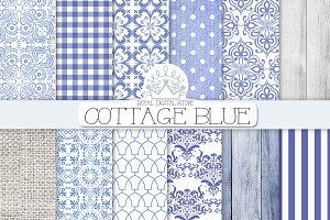 BLUE DAMASK cottage digital paper