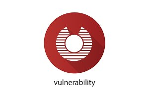 Vulnerability flat design long shadow glyph icon