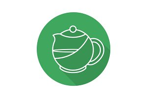 Brewing teapot flat linear long shadow icon