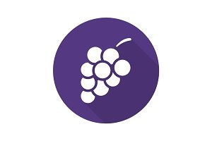 Bunch of grapes flat design long shadow glyph icon