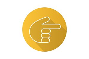 Point right hand gesture. Flat linear long shadow icon