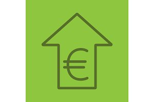 Euro rate rising color linear icon