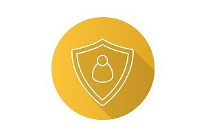 User security flat linear long shadow icon